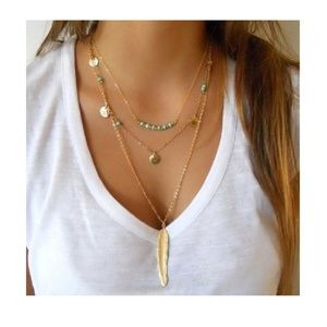 Jewelry - 4 for $20 Multi-layered Feather Boho Necklace